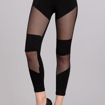 Black Fishnet Mesh Panel Punk Leggings Gothic Clothing