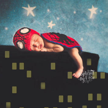 Handmade Crochet Spiderman inspired outfit set (hat and cape) photo prop, photo drop costume