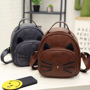 Women Backpack New Fashion Casual PU Leather ladies feminine backpack for teenage girls school bag solid mini Small backpacks