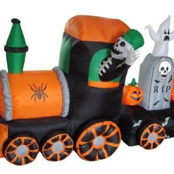 7 Foot Long Halloween Inflatable Skeletons on Train Yard Decoration