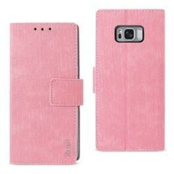 REIKO SAMSUNG GALAXY S8/ SM DENIM WALLET CASE WITH GUMMY INNER SHELL AND KICKSTAND FUNCTION IN PINK