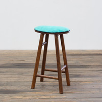WOODEN BAR STOOL WITH STONEWASHED COTTON SEAT-TEAL