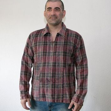 Men's Flannel pullover shirt -  plaid shirt - hipster flannel - brushed cotton pullover with pockets- check flannel shirt