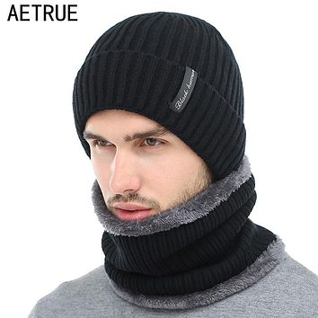 AETRUE Winter Beanies Men Scarf Knitted Hat Caps Mask Gorras Bonnet Warm Baggy Winter Hats For Men Women Skullies Beanies Hats