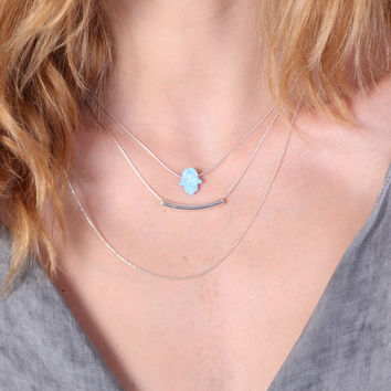 Layering necklaces, set of 3 necklaces, opal necklace, hamsa opal necklace, October opal, bar necklace, silver bar  -20095