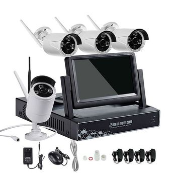 4CH 7 Inch Displayer NVR 960P Wireless IR Night Vision Camera Security IP Surveillance