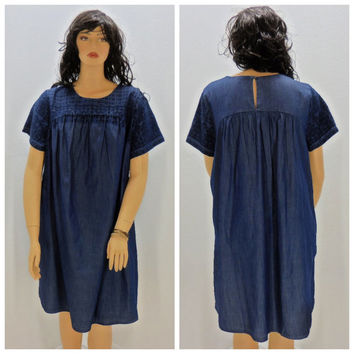 Plus size smock tunic dress, XL / 3X, Lucky Brand, embroidered, indigo blue, Indie, boho dress, Sunny Boho