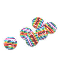 Small colorful buttons, Polymer Clay buttons in rainbow colors, unique pattern,  set of 6 stripes buttons