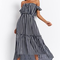 Striped Off-the-Shoulder High-Low Maxi Dress - Women - Dresses - 2000290756 - Forever 21 Canada English