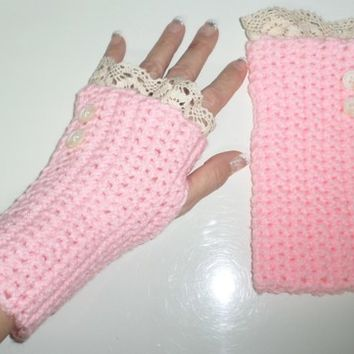 Baby Pink Crochet Ivory Lace Knitted Button Wrist Arm Warmers