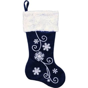 "20"" Velvet Stocking with Snowflakes, Sequins , Swirled Yarn Cuff. blue"