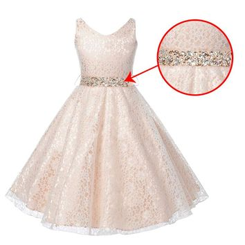 vestidos 2017 Summer Dress Children's Clothing Party Princess Baby Girls Clothing  Lace Wedding Dresses Prom Dress Teen Costume