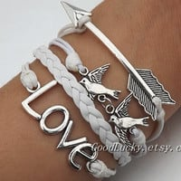 Be kind to each other and love each other bracelet--silver arrow, bird and LOVE bracelet--white wax rope and white Leather braided bracelet