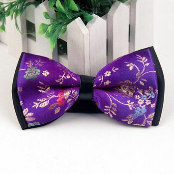 Floral Bow Tie Ties For Men Wedding Polyester Skinny White Bow Tie Solid Color Necktie Gravatas Slim Cravat