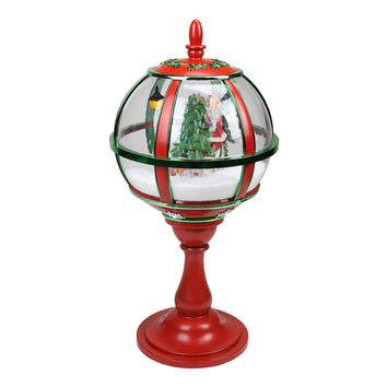 """23.5"""" Lighted Red and Green Musical Snowing Santa with Christmas Tree Table Top Street Lamp"""