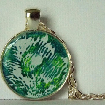 "Necklace, Gifts for Women, Jewelry, Original,  ""Coral Reef"", Green, White Handmade, OOAK, Gift Idea, Graphic Design, Christmas"