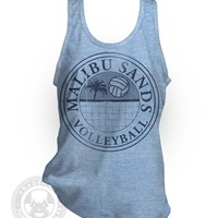 Malibu Sands vintage style Saved By the Bell resort Beach Volleyball American Apparel TR408 Tri-Blend Track Tank Top from Tuffy McPuggles
