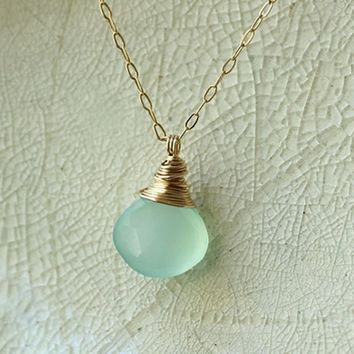 Aqua Chalcedony Sea Ocean Blue Gem Stone Drop Pendant Gold Silver Necklace - Delicate Simple Minimalist Jewelry - MERMAID by 5050 STUDIO