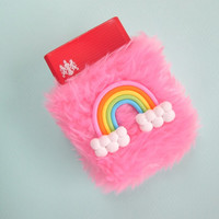 Pink Kawaii Cigarette Case. Cute Rainbow Girly Cigarette Holder. Sweet Lolita. Harajuku. Pale Grunge. 90s Fuzzy. Baby Pink Faux Fur
