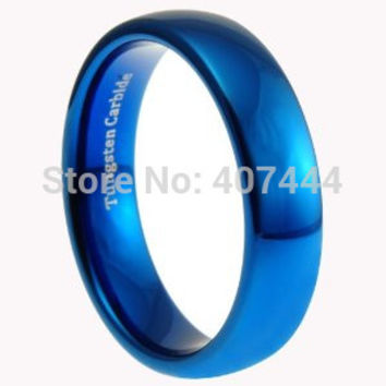 Free Shipping USA UK Canada Russia Brazil Hot Sales 6MM Shiny Blue Polished Domed Women&Men's Lord Fashion Tungsten Wedding Ring