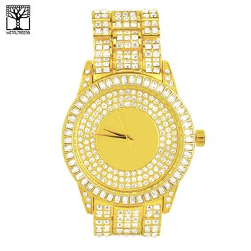 Jewelry Kay style Men's Bling Bling Iced Out CZ 14k Gold Plated Metal Band Hip Hop Watch WM 1339 G
