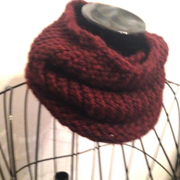 Cowl for Men Chunky Handknit Dark Maroon Cowl Hand Made Brown Circular Soft Chunky Knitted Cowl