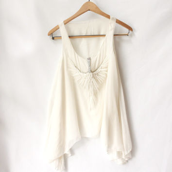 Crystal Feather Flowy White Top Tunic, Vintage Blouse Sleeveless with Bird Embellishment (Small/Medium)