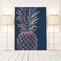 Pineapple Print Art, Rose Gold Pineapple Decor, Wall Print Pineapple, Printable Pineapple Wall Art, Pineapple Poster, Gold Pineapple Print