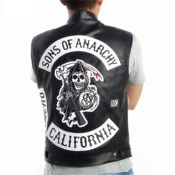 New Dropshipping USA Sons of anarchy Harley Motorcycle Embroidery Leather Vest black punk Jacket Free Shipping