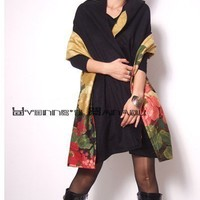 Black Cashmere Blended Wool Red Yellow Floral Cotton by yystudio