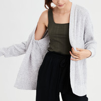 AE Super Soft Ribbed Cardigan, Heather Gray