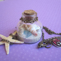 Beach in a Bottle Necklace w/ Real Starfish Sea by WhimsyByKrista