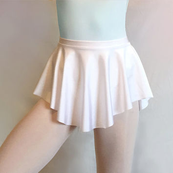 Classic White Lycra/Spandex Ballet Dance Skirt - SAB Style- Royall Dancewear- Pull-on Skating Lyrical