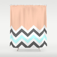 Color Blocked Chevron 11 Shower Curtain by Josrick