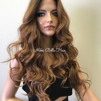 Ombre Brown Hair Blend Multi Part SWISS Soft 3x3 SILK TOP Lace Front Wig -Lita 8172