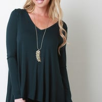 Jersey Knit Wide V-Neck Long Sleeve Top