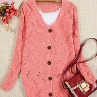 A 081205 Loose long-sleeved V-neck sweater cardigan hollow from cassie2013
