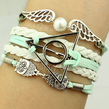 Harry Potter Deathly Hallow Bracelet Cute Owl Bracelet Mint Green Wax Cord And White Leather Braid Bracelet Best Choose Gift.-J878