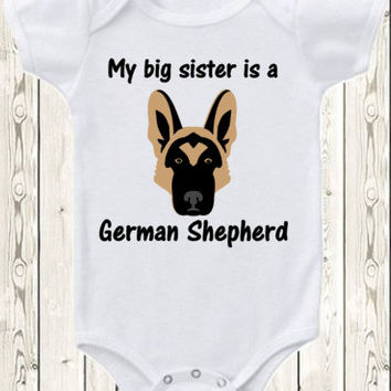 My Big brother Sister is a German Shepherd dog Onesuit ® brand bodysuit  shirt pregnancy announcement german shepherd Onesuit ® brand bodysuit