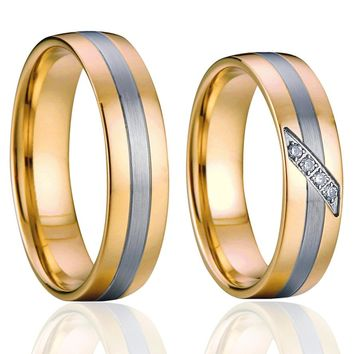Costume jewelery wedding rings for men and women gold colour promise couple rings pair jewelry rings anel  bague