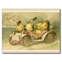 Vintage Easter Chicks in Antique Car Postcard