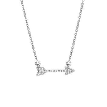 14k White Gold Shiny Sideways Arrow Necklace with 0.14ct.Diamond+Lobster Clasp