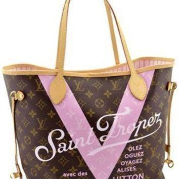 ICIKHI2 Louis Vuitton Pink Monogram V Neverfull Mm Saint Limited Edition Brown Tote Bag