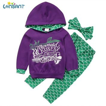 LONSANT Kids Spring baby girls boys clothing set Kid Mermaid Hoodie Tops Pants Leggings Outfits Set Clothes early autumn clothes