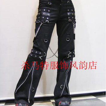 Men's new Clothing long trousers trend punk gothic horn non-mainstream casual rivet gas hole pants singer costumes