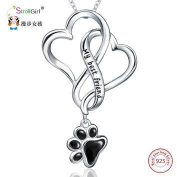 925 Sterling Silver Chain Pendant Fashion Jewelry Dog Paw with Love Heart Necklaces
