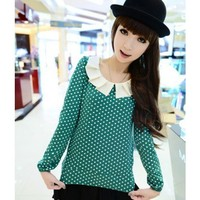 Baby Collar Long Sleeve Women Autumn Korean Style Cute Sweet Dot Green Cotton Tops M/L @WH0381gr $10.99 only in eFexcity.com.