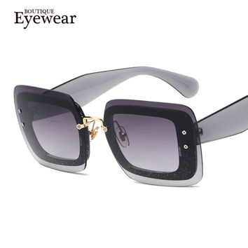 BOUTIQUE New Arrive Women Fashion Square Rimless Sunglasses Women Vintage Brand Designer Coating Sun Glasses uv400