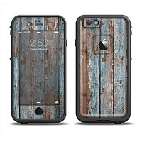 The Wood Planks with Peeled Blue Paint Apple iPhone 6 LifeProof Fre Case Skin Set