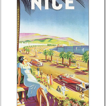 Nice, France PLM Retro Travel Poster - 8.5x11 Poster Print - also available in 13x19 - see listing details
